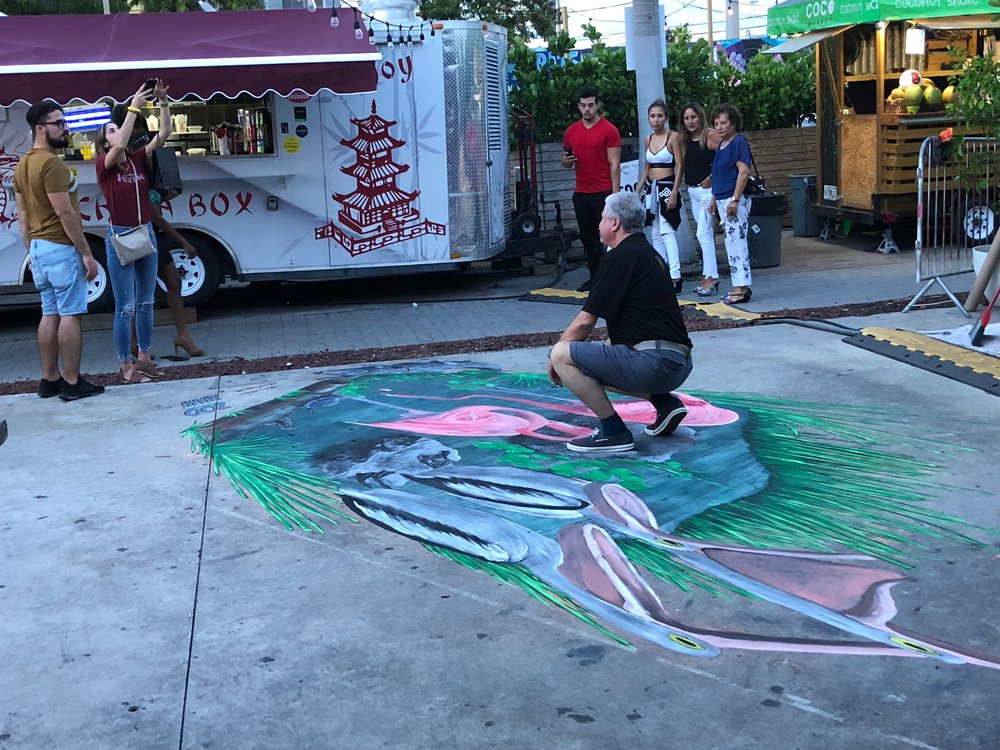 3d chalk art can be viewed from the side - but you can see the secret to the 3d