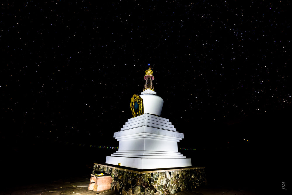 "Single shot of the stupa lit up by ""light painting"""