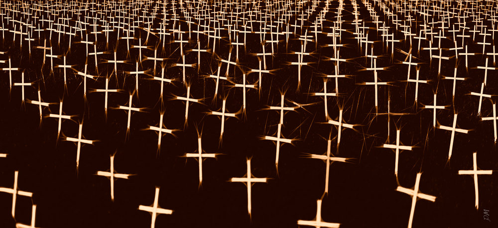 Saw this field of crosses in front of a church near Boulder, Colorado. Loved the abstract pattern of them.