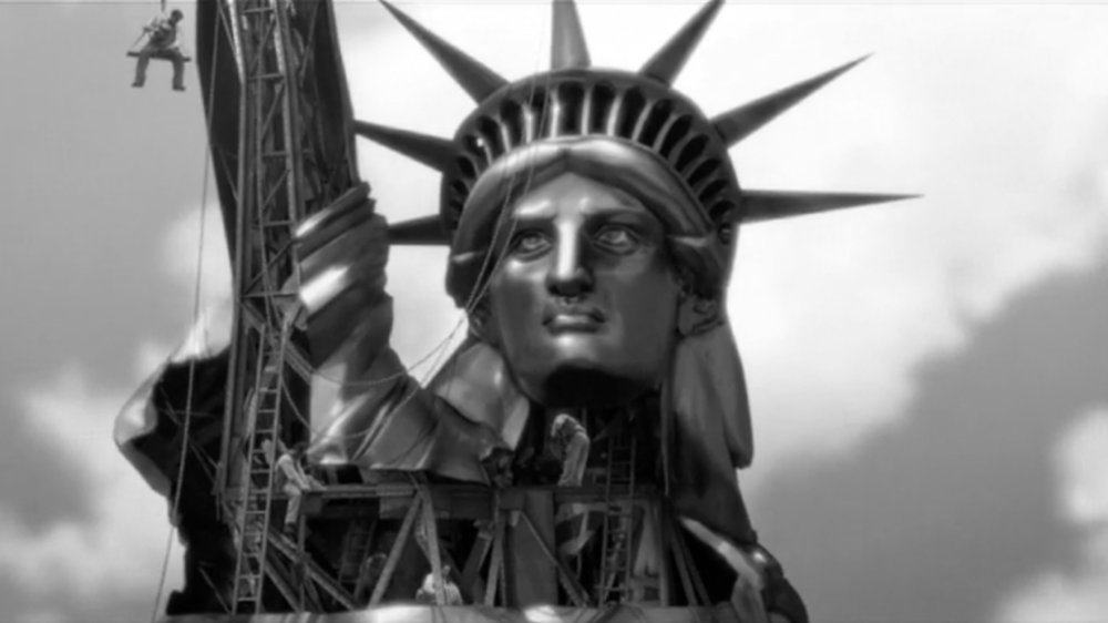 Working on copper skin of Statue of Liberty.