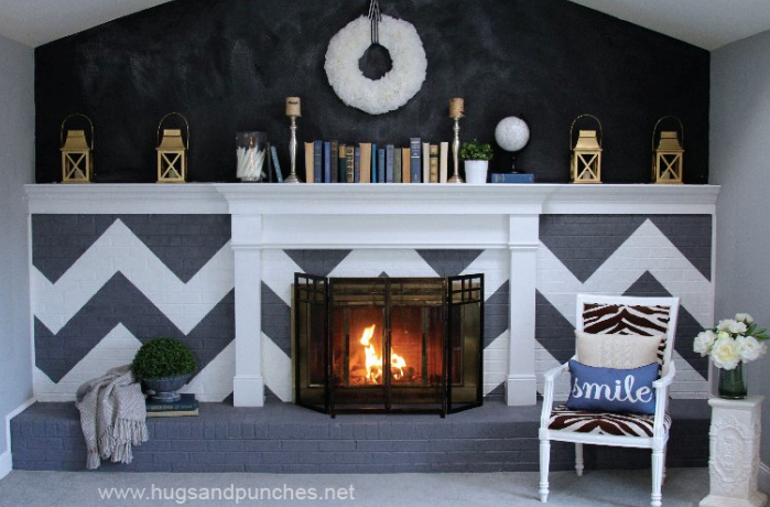 chevron fireplace