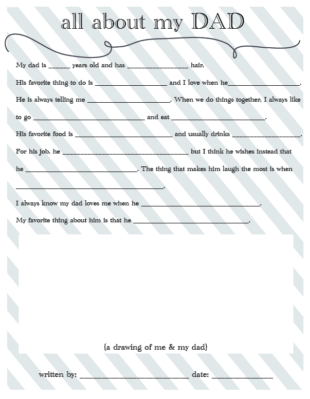 all about my dad - fathers day printable