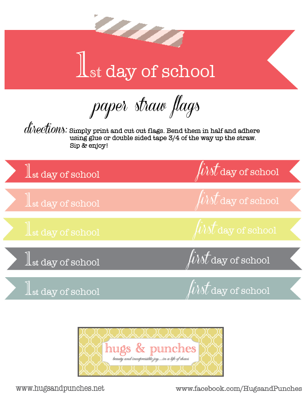 printables-paper straw flags-first day of school 1