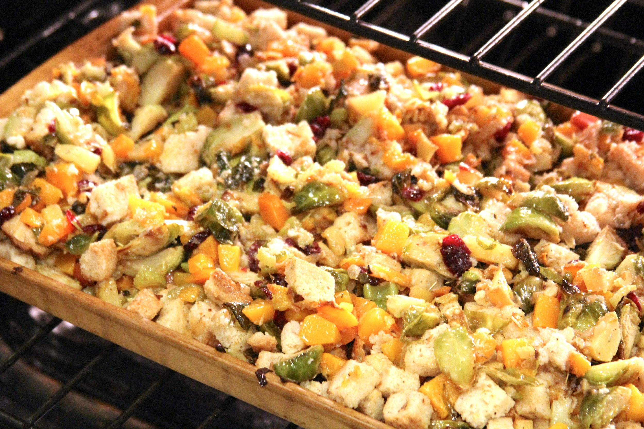 gluten free stuffing with brussels sprouts, butternut squash, and apples