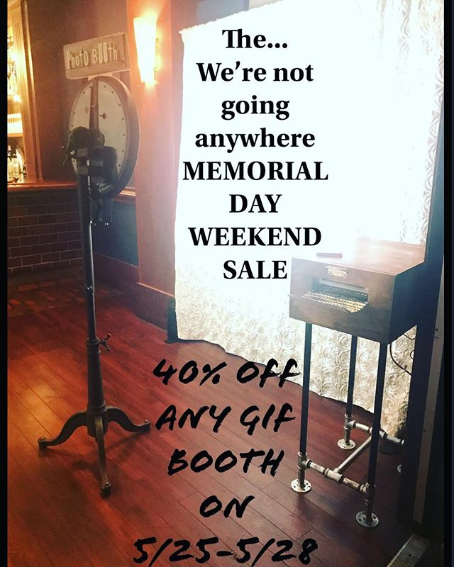 To celebrate MEMORIAL DAY weekend WE are giving 40% off any gif booths that are taking place from 5/25-5/28 GIVE US a CALL shoot us a text #TakingPicsMakingGifs #thatswhatwedo #wehavefun #phillyphotobooth #gifbooth #phillygif  #letshavesomefun