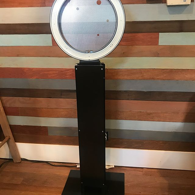 Just finishing up touches on our new selfie station ring light stand.  It's got a sleek attractive finish which is great for wrapping and corporate activations.  It's a more modern look compared to our vintage booths but we love them all the same.
