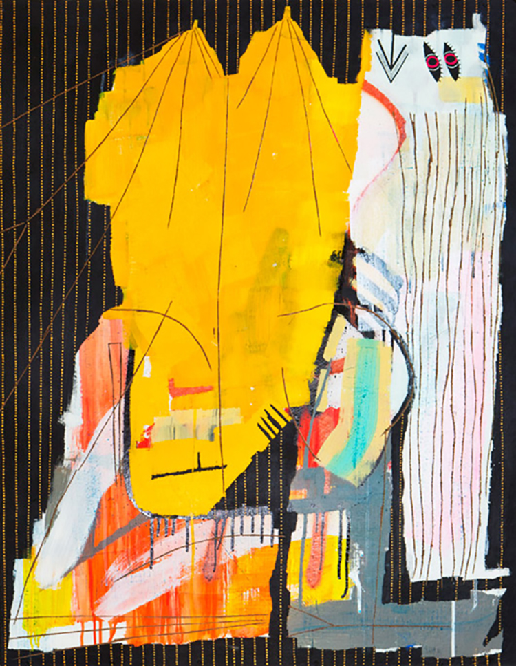 suddenly  93 x 72 cm acrylic, pen and carving on wood  2011
