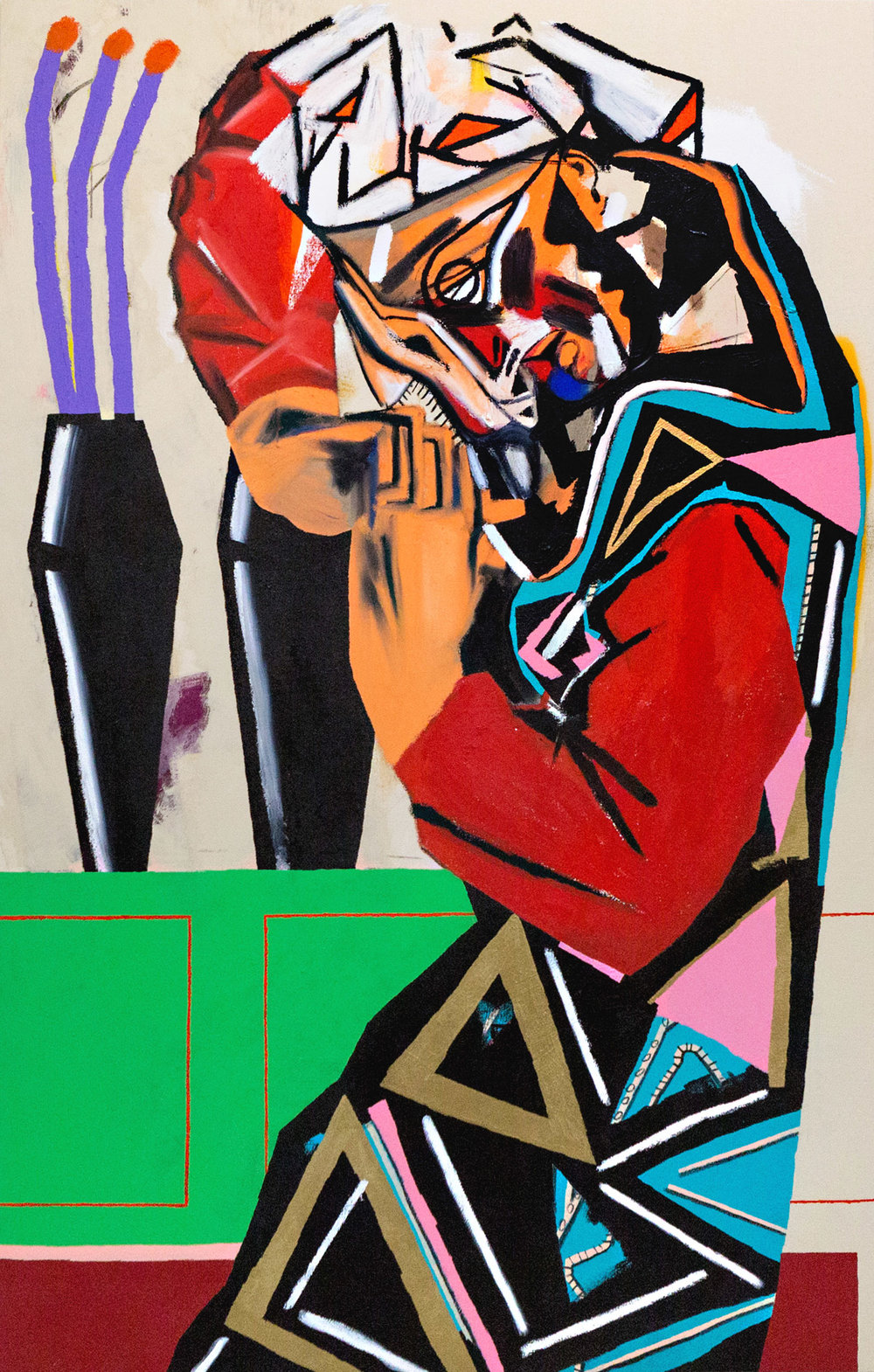 captured pieces (a woman who is praying) 58 x 37 inch (147 x 95 cm) acrylic, oil stick, spray and charcoal on canvas 2016