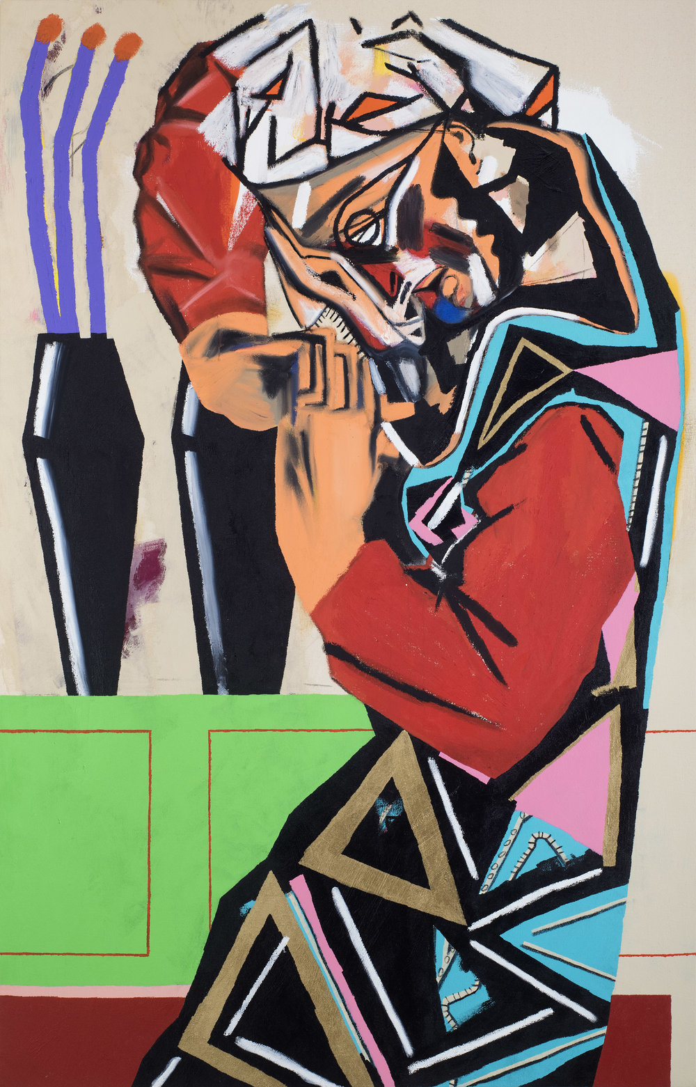 captured pieces (a woman who is praying) 58 x 37 inches (147 x 95 cm) acrylic, oil stick, spray and charcoal on canvas 2016