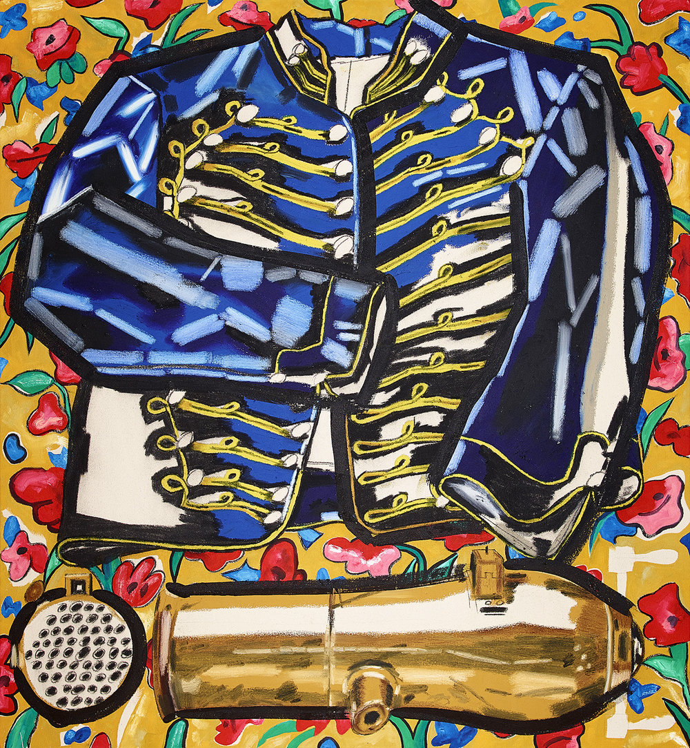 Cavalry shell jacket and volley gun 52 x 48 inches oil, oil stick, acrylic and charcoal on canvas 2018