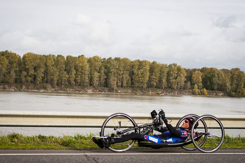 US Paralympian Will Groulx on a training ride along the Columbia River
