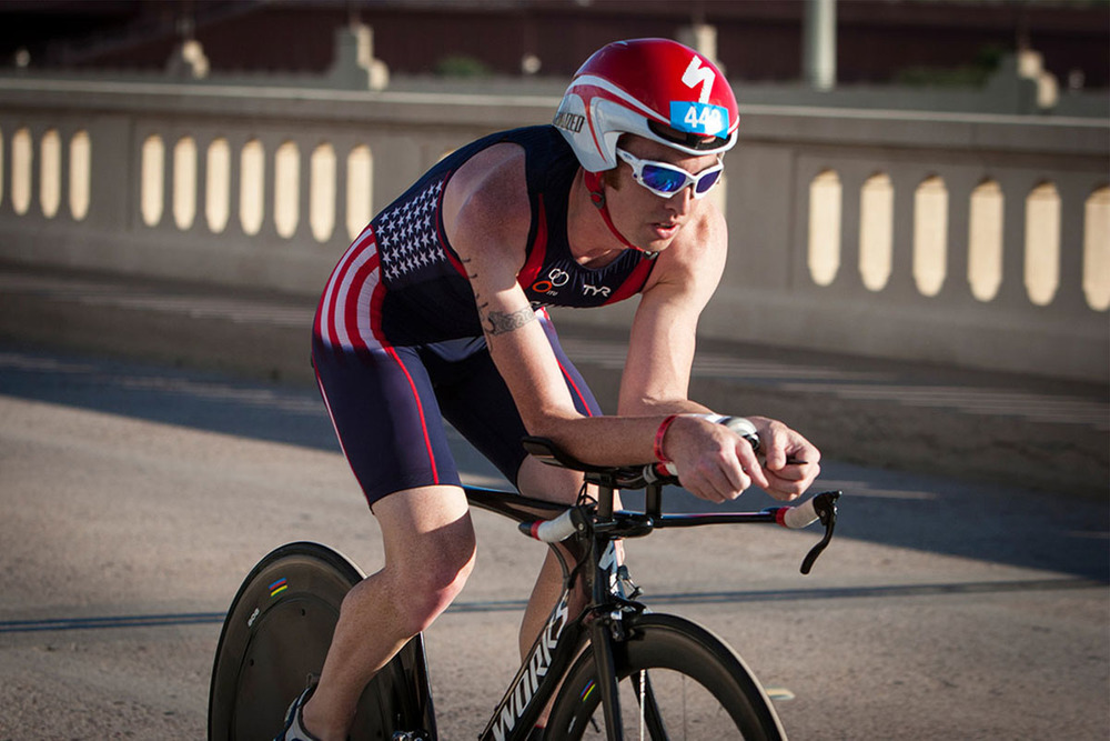 US ParaTriathlete Joel Rosinbum on course in Tempe, Arizona