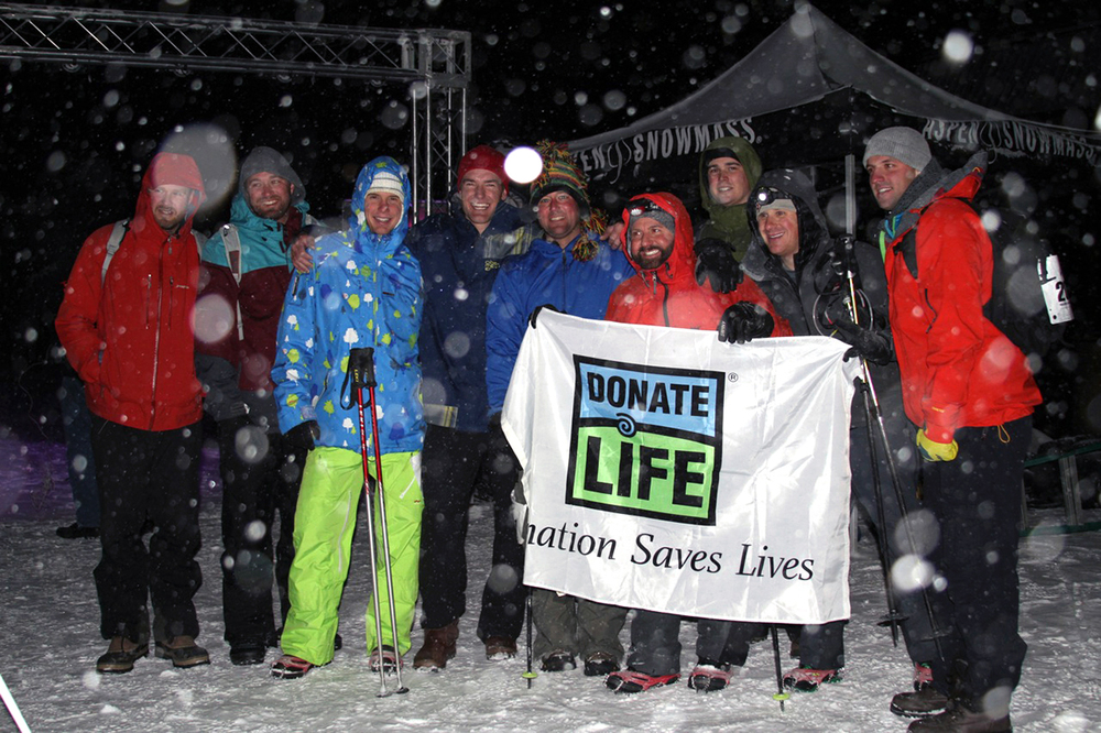 Friends supporting kidney transplant recipient Bryan Myss during Summit for Life uphill race on Aspen Mountain. Benefitting the Chris Klug Foundation and raising awareness for 'organ & tissue donation'