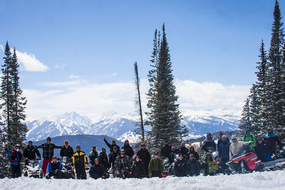 Snowmobile outing with adaptive ski team in Aspen, Colorado