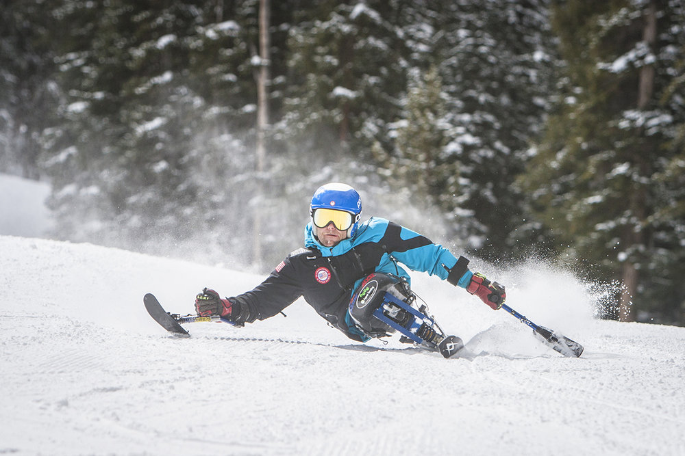 Tyler Walker taking laps on Highlands in Aspen, CO. He is a member of the National Alpine Team and AVSC