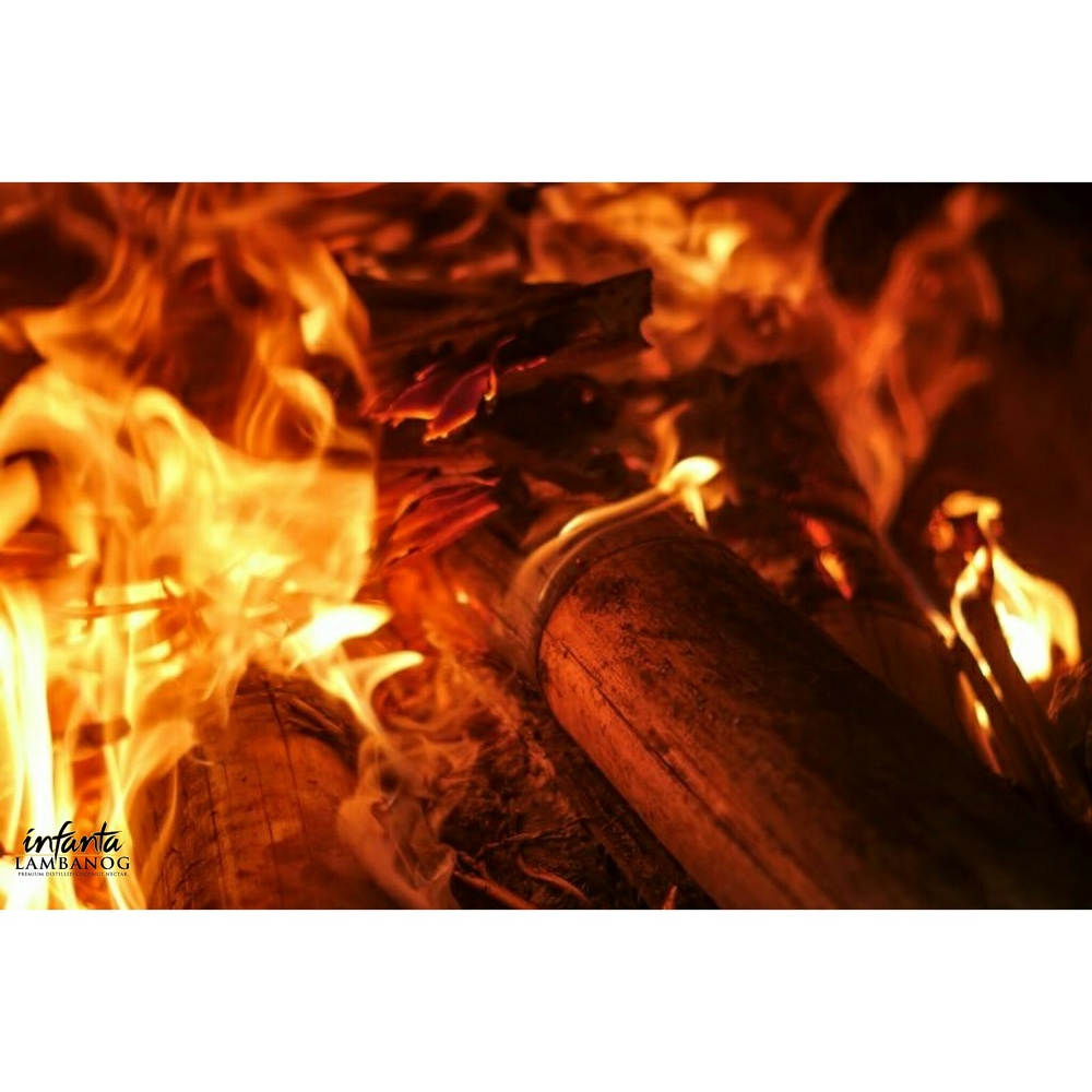 - As the fire grows underneath the Copper Still, the raw coconut nectar is prepared