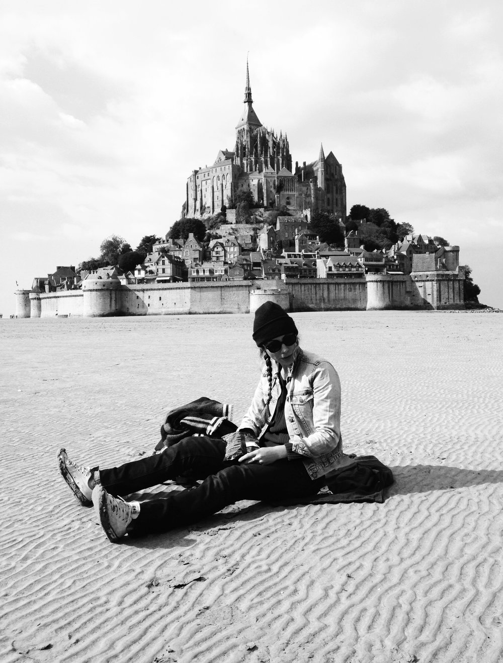 Human and Mont Saint Michel