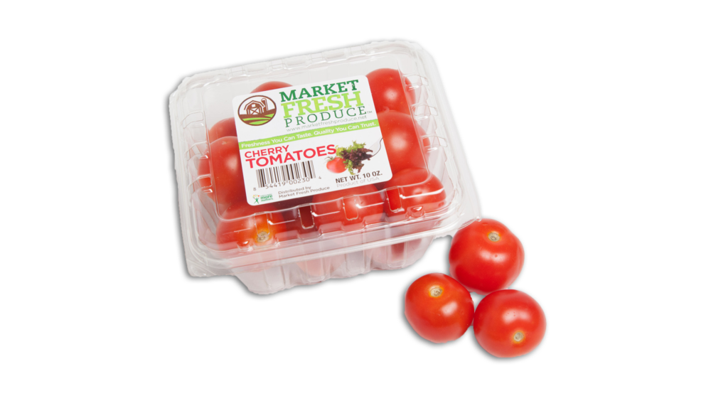 Cherry Tomatoes - Cherry tomatoes are a wonderful bite size snacking tomato with sweet flavor and juicy insides. We offer cherry tomatoes in the perfect 10 ounce clamshell that is just the right size for your next recipe adventure or family snack!