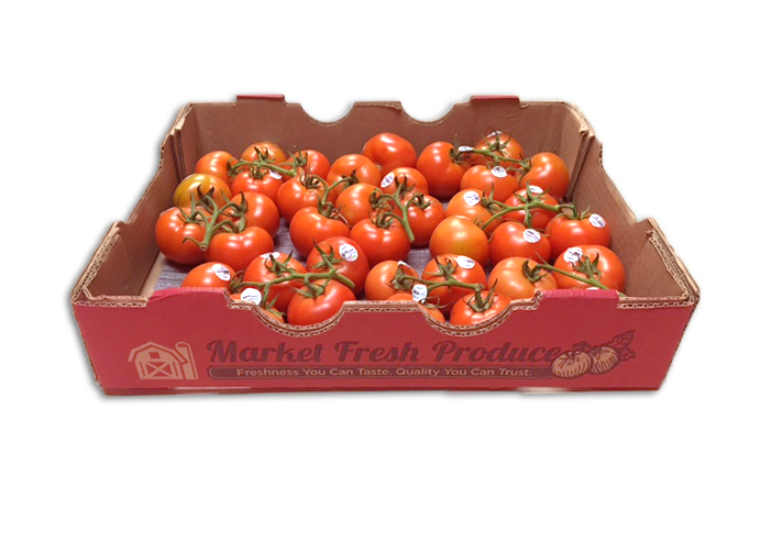TOV Tomatoes - Tomato on the Vines are the best addition to our tomato line! TOV's are 4 or 5 tomato clusters still on the vine that continue to ripening until the time you use them! They are offered in an 11 pound bulk case. With our TOV program, we have product growing in Canada and Mexico for year around availability!