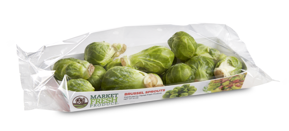 Brussels Sprouts - These decadent little rounds of nutrition are popular again and are in high demand! We now offer them in an 8 ounce tray that is perfect for your shoppers! This tray is prepackaged with nutrition, UPC, and a recipe for the perfect convenience item!