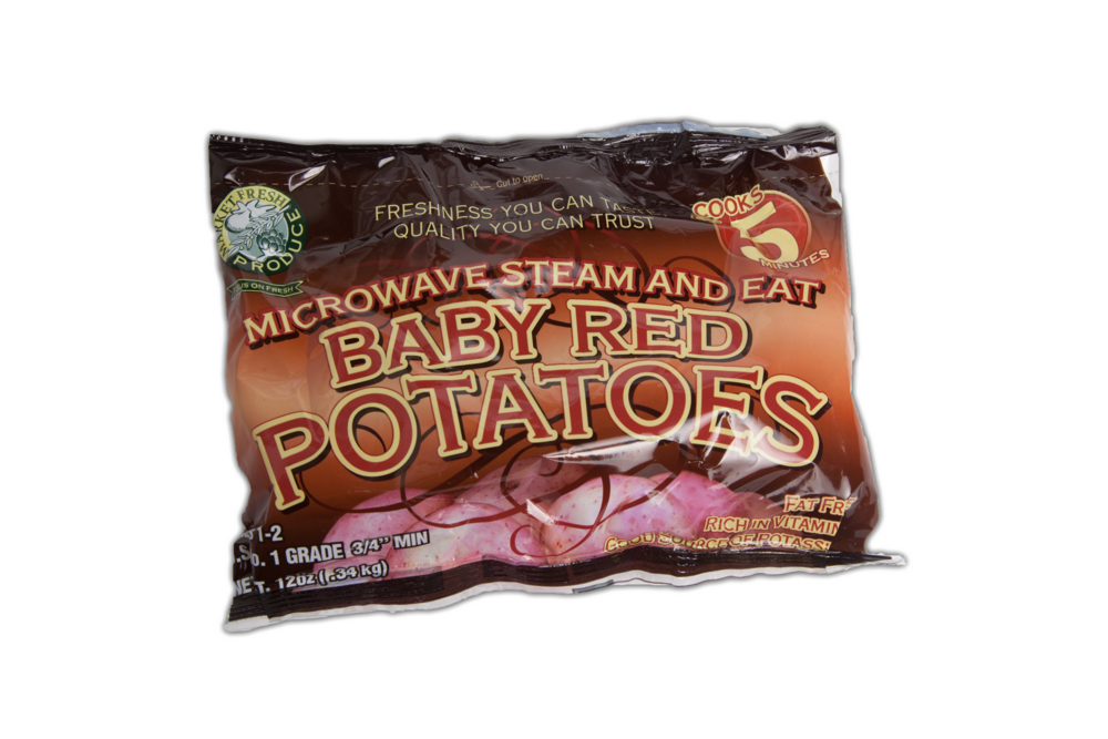 Packaged Red Potatoes - Red potatoes can add a little color to your favorite mashed potato recipe or side dish! These steamer bags make them ready in just 5 minutes, so there is very little wait until you get to enjoy them! Our steamer bags are available in 12 ounce portions.