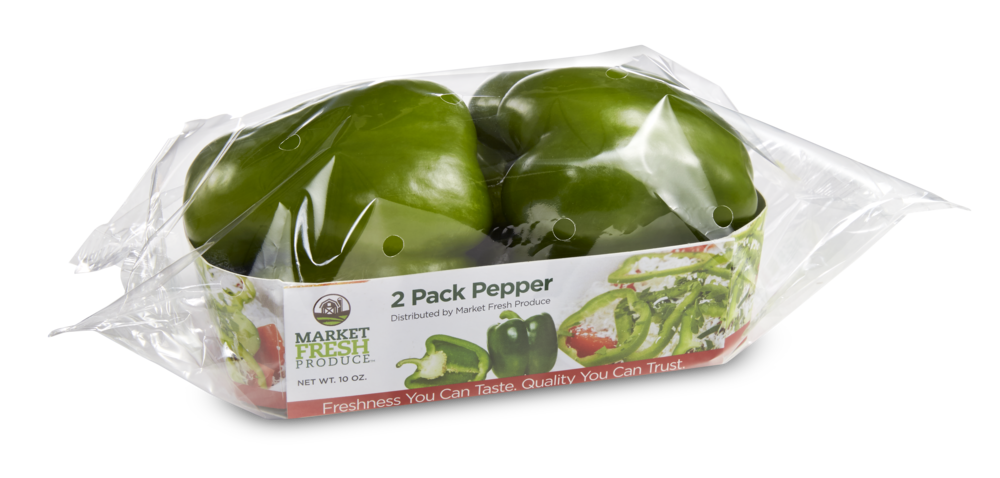 Green Peppers - Green peppers are an original favorite of ours! So tasty and great for adding to your favorite dishes. We offer green peppers in 22 lb. bulk cases or the ultimate convenient 2 pack tray.
