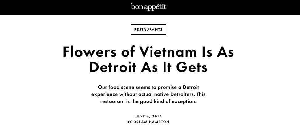 Bon Appétit - Flowers of Vietnam Is As Detroit As It Gets