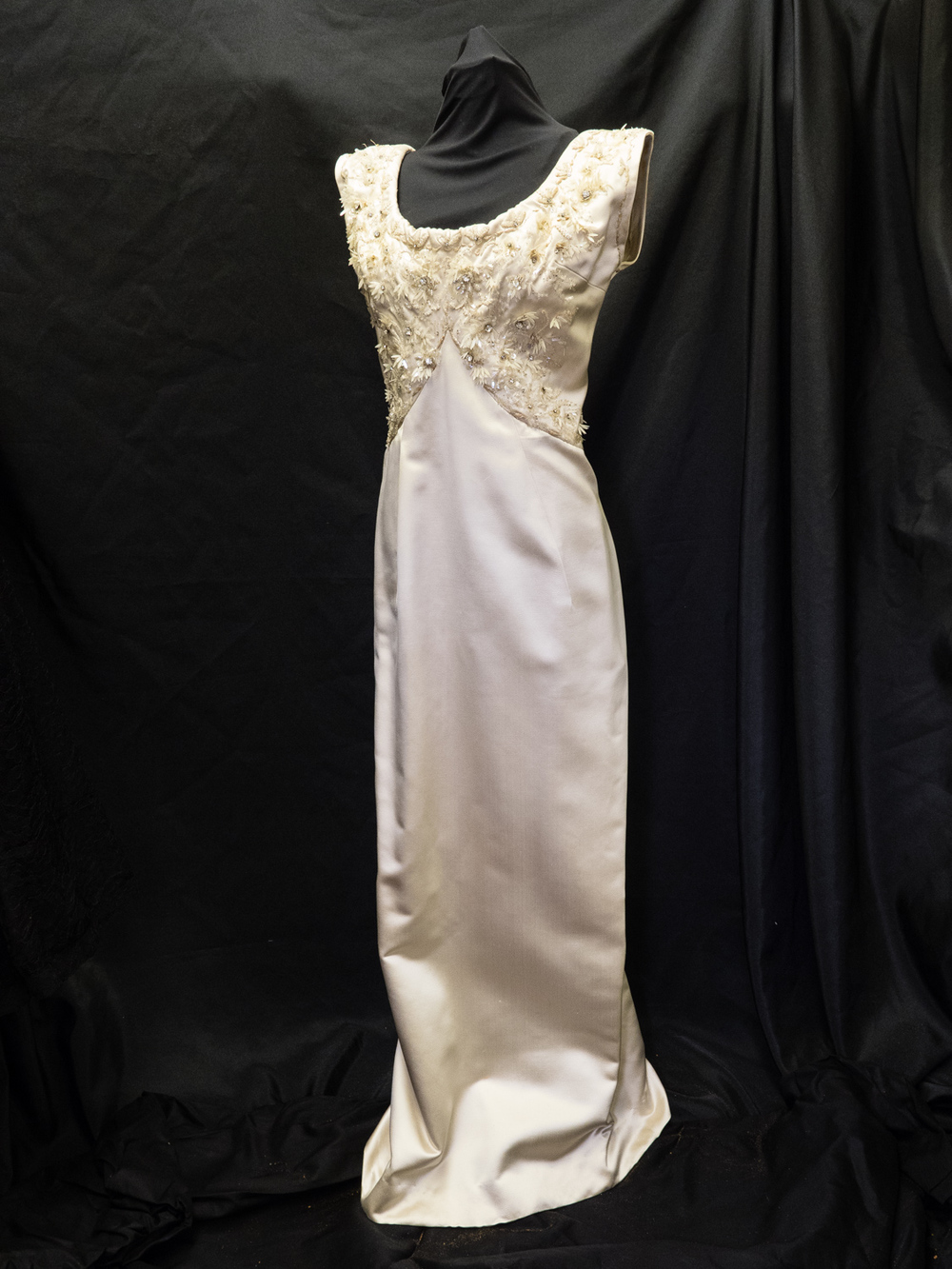 Evening Dress, oyster silk with white pailletté, 1960 Donated by Mrs. Marg Pattison, from her mother Marg McKee Estate
