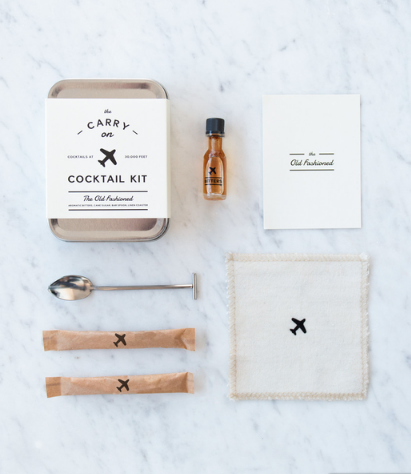 CARRY-ON COCKTAIL KITS! - Being one who partakes on the flight madness for the holidays, this one is a gem. W&D Design does a lot of great things, but their Carry-On-Cocktail Kits are just so freakin' delightful. A classy tin filled with the essentials needed to make a perfect cocktail to accompany those on their journey. (It's for a round trip, btw.)$24*Cocktails currently offered: Old Fashioned, Gin & Tonic, Champagne Cocktail, Bloody Mary, Moscow Mule, and the Hot Toddy
