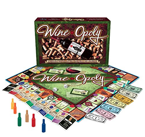 WINE-OPOLY BOARD GAME - Enjoy this 2-6 player game that's, well, just like the classic property game, BUT with a wine theme...so...obviously better.$20