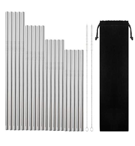 "STAINLESS STEEL STRAWS - Let's play our part here and ditch them ol plastic straws. Not only are stainless steel straws sleek and make your drinks look way cool–but they're also friends to the environment and a great accessory to have at your home bar.What I dig about this set is that it's a variety pack of various sizes (6.3"", 7.1"", 8.5"", and 10.5"").$15"