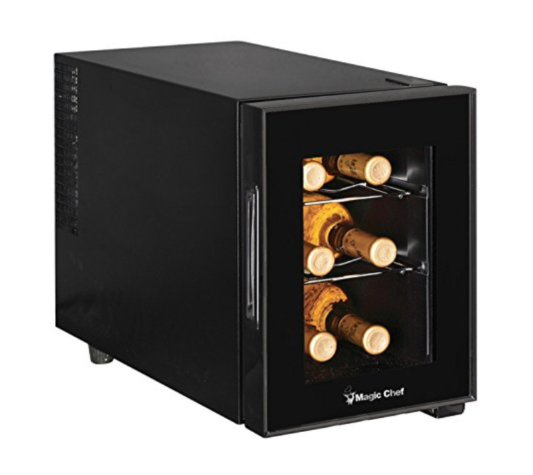 MINI WINE FRIDGE - Not all wine refrigerators need to be huge and take over the world. For those who are looking for a place to store their wine, want to keep them at that right temperature, but want something smaller for their kitchen–well, here's a little wine fridge for ya that fits right on your counter! This one is a 6 bottle one, but anywhere from 6-12 is great gift for those wine lovers in your life!$60