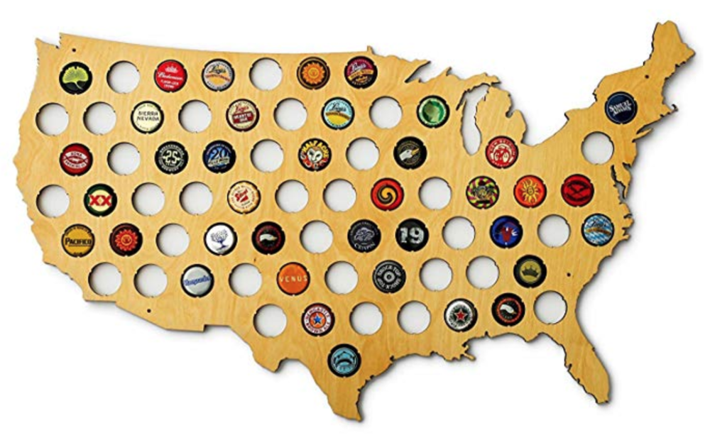 USA BOTTLE CAP MAP! - Fill this map however you see fit. Only put caps collected from that location, fill it with just US only brews…or hell, only put bottle caps you really, really like. The world is your oyster. In the end, it's a fun decor to have.$34