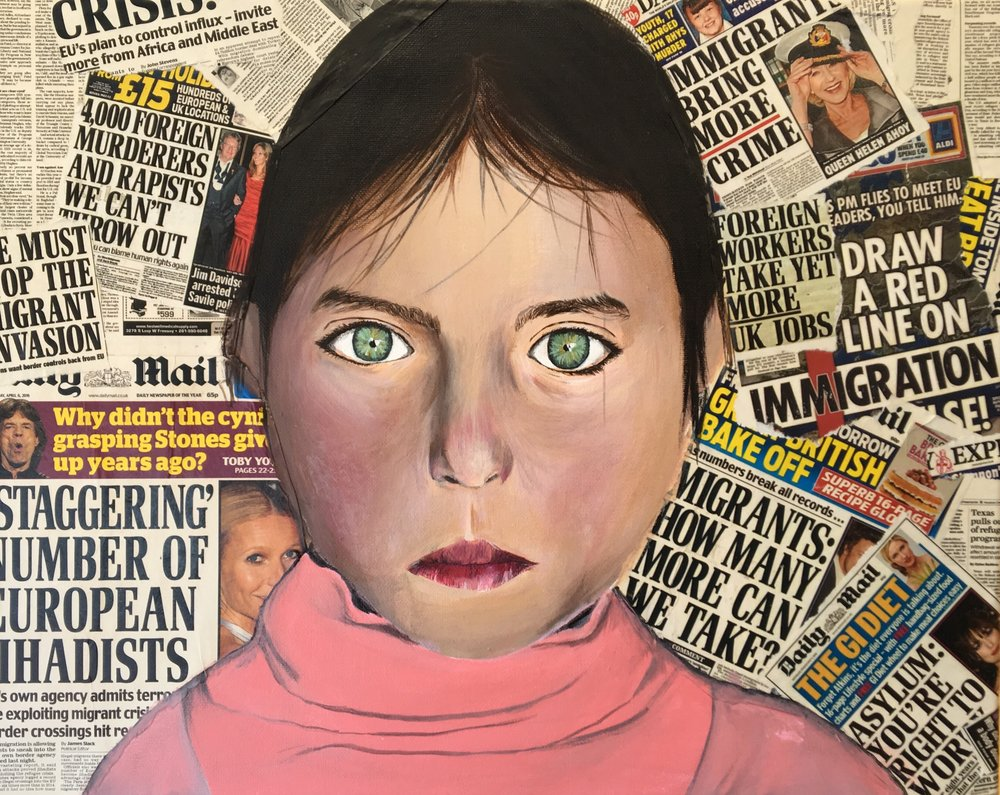 "5.  Innocent (1/12)     Acrylic, newspaper   This piece depicts a refugee girl whose innocent face is juxtaposed against the harsh newspaper reports that slander refugees for ""invading"" and ""destroying"" the West. I hope to help deconstruct anti-refugee sentiment by making people realize the impossibility of this innocent girl doing anything like the harmful things the newspaper headlines accuse her of."
