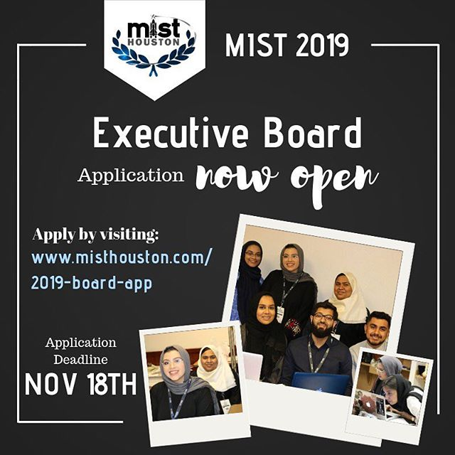 We are looking forward to a great year! Can't wait to start planning with you all. Remember the 2019 Board application is now open! The deadline to apply is NOVEMBER 18th! Apply now! -  misthouston.com/2019-board-app #misthouston #mist2019 #boardapplication