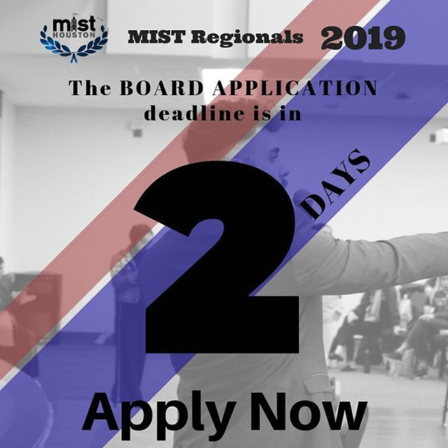 We are 2 days from the board application deadline! Share the link to apply with any friends that you think may be interested! Apply by visiting: misthouston.com/2019-board-app #misthouston2019 #kickingoff2019