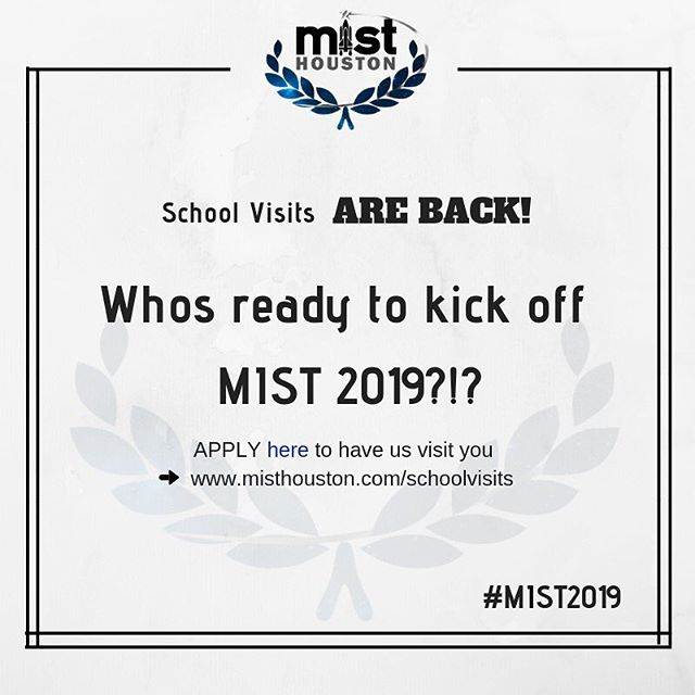 We are ecstatic about school visits this here and can't wait to start off regionals 2019 by visiting ya'll!!HOPE YOU ALL ARE READY!! Sign up here to have your board visit you! -  http://www.misthouston.com/schoolvisits #misthouston2019 #kickingitoff #can'twaittoseeyouall #getexcited #regionals