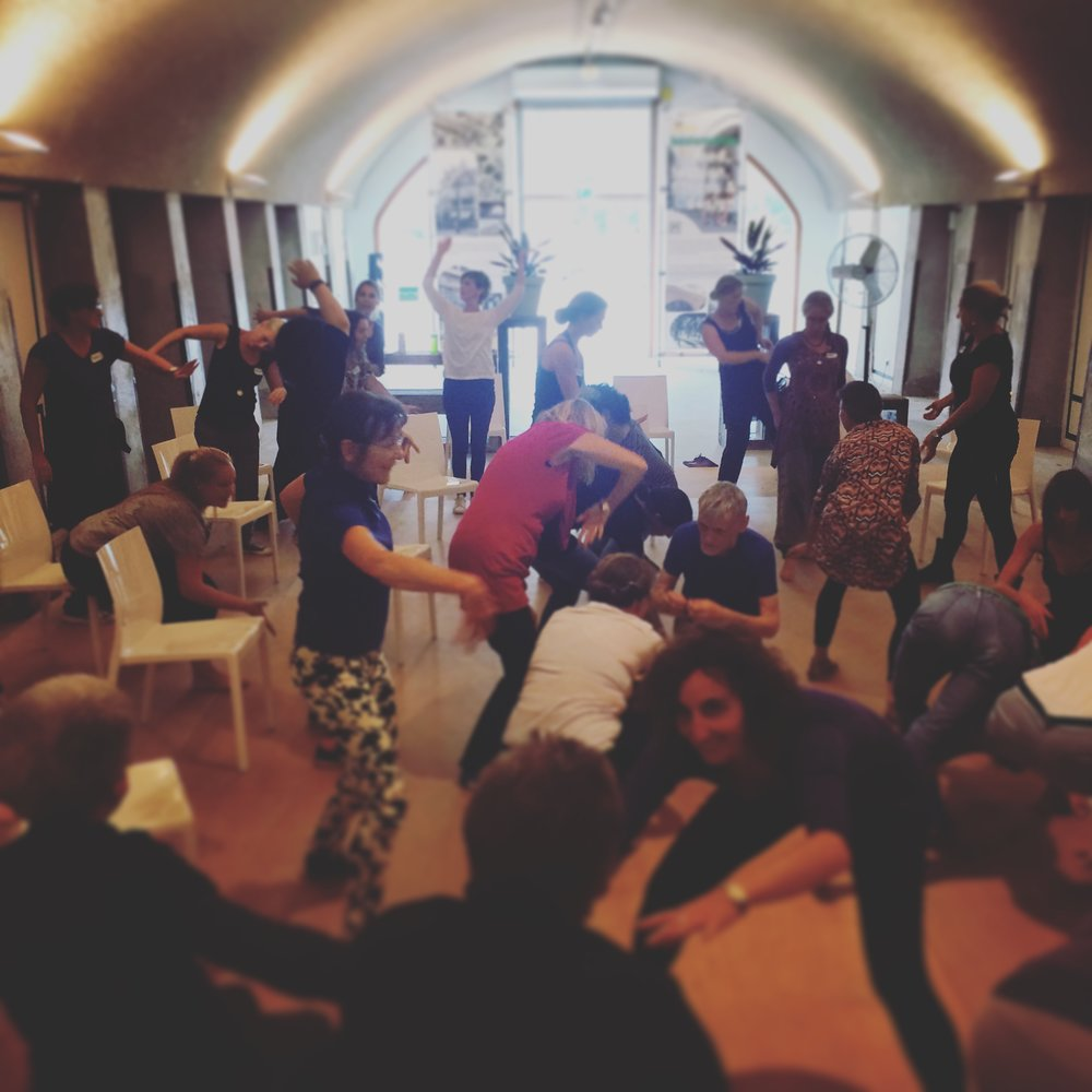 Teachers of the Dance for Health programme in a creative improvisation workshop