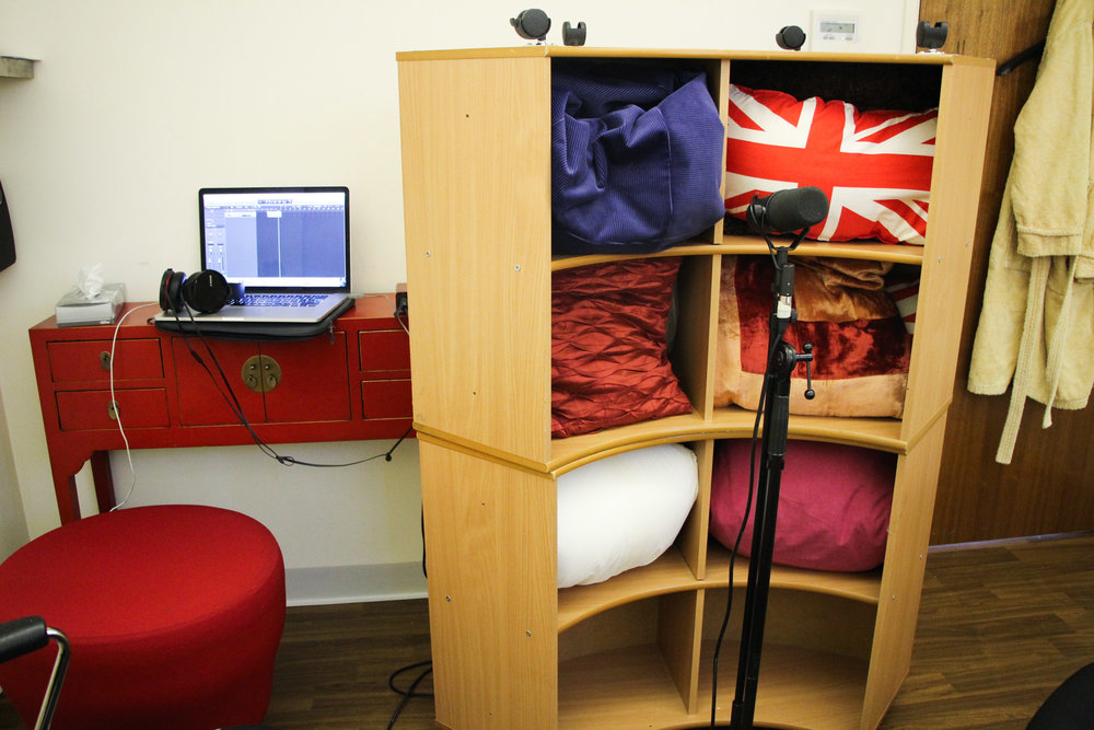 Our makeshift recording studio in a treatment room at St. Joseph's Hospice, Hackney