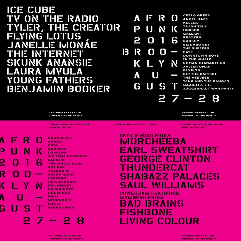 Afropunk 2016! - APRIL 21ST, 2017 - The Afropunk Festival held in Brooklyn on August 27-28 has announced the line-up for 2016. And what a line up it is! Along with headliner Ice Cube there will be a SUPERJAM featuring members of Bad Brains, Fishbone and Living Color! Click here for tix and more info!