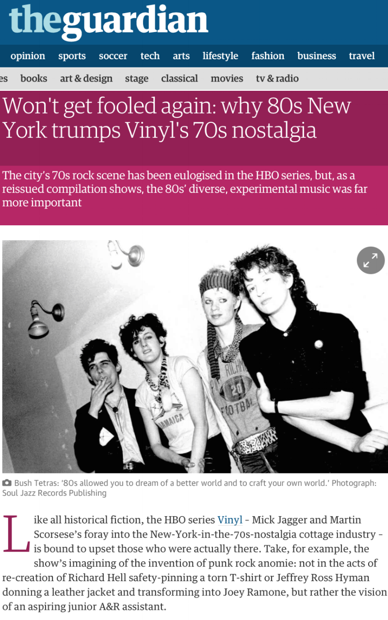 Bush Tetras! - APRIL 1ST, 2016 - Pat and Cynthia from Bush Tetras tell you what it was really like for a New York band starting and playing during the early 80's.. Click the pic for the article!