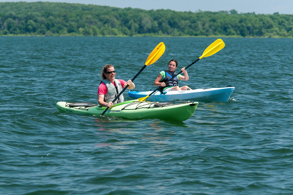 Spend some time paddling around Pomme de Terre State Park and/or Stockton State Park.