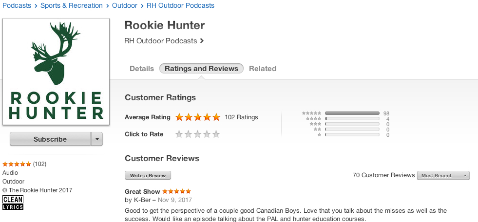 Rookie Hunter iTunes Reviews