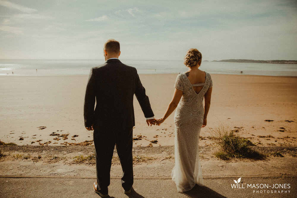 Swansea registry office wedding photographer beach seafront photography