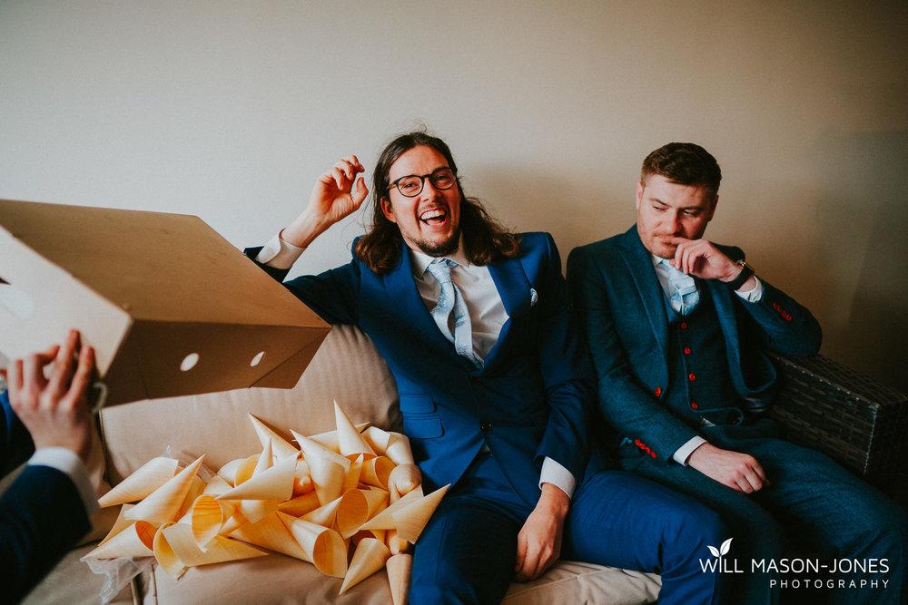 relaxed fun bridal and groom preparations at llanerch vineyard cardiff wedding