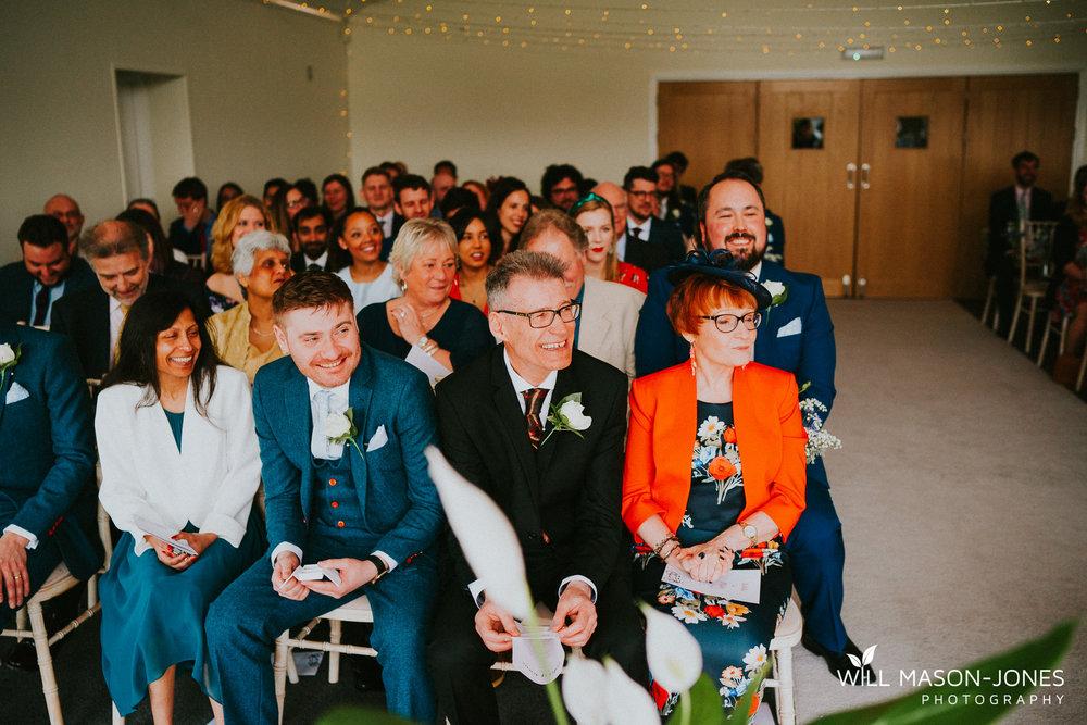 fun happy colourful wedding ceremony photography llanerch vineyard cardiff