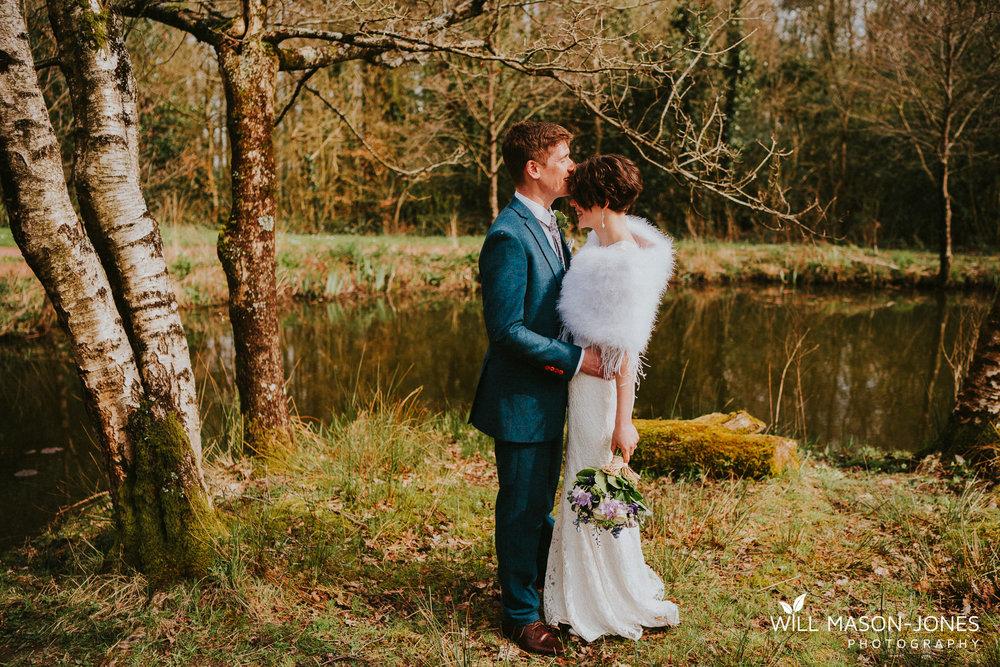 couple portrait natural woodland photography at llanerch vineyard cardiff wedding