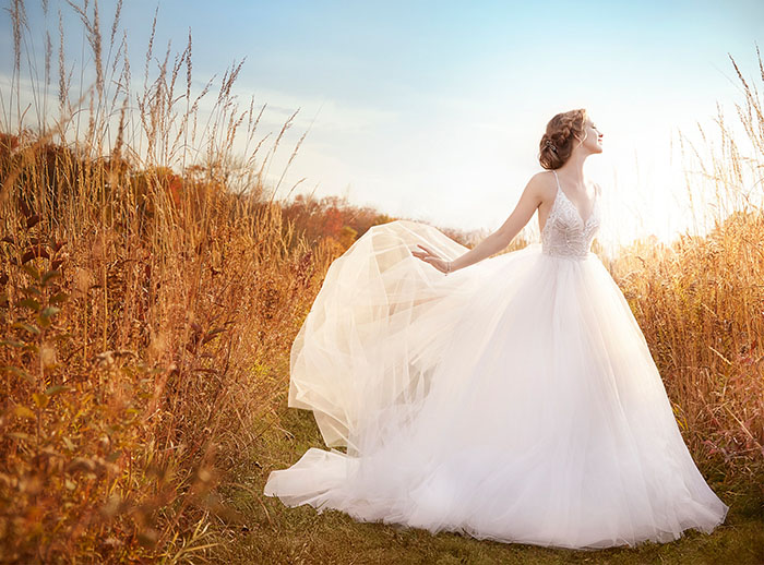 Jim Hjelm by Hayley Paige Iridescent Ball Gown
