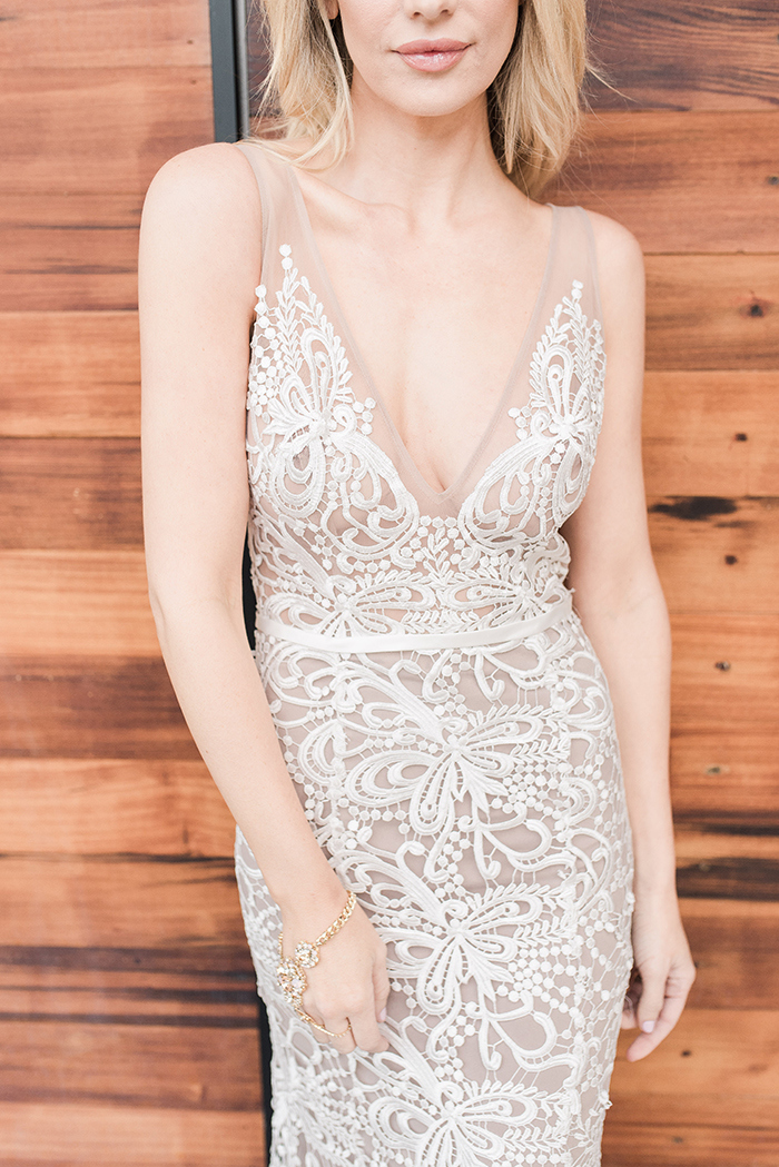 Boho Chic Crochet Lace Wedding Dress with a Deep V Neckline