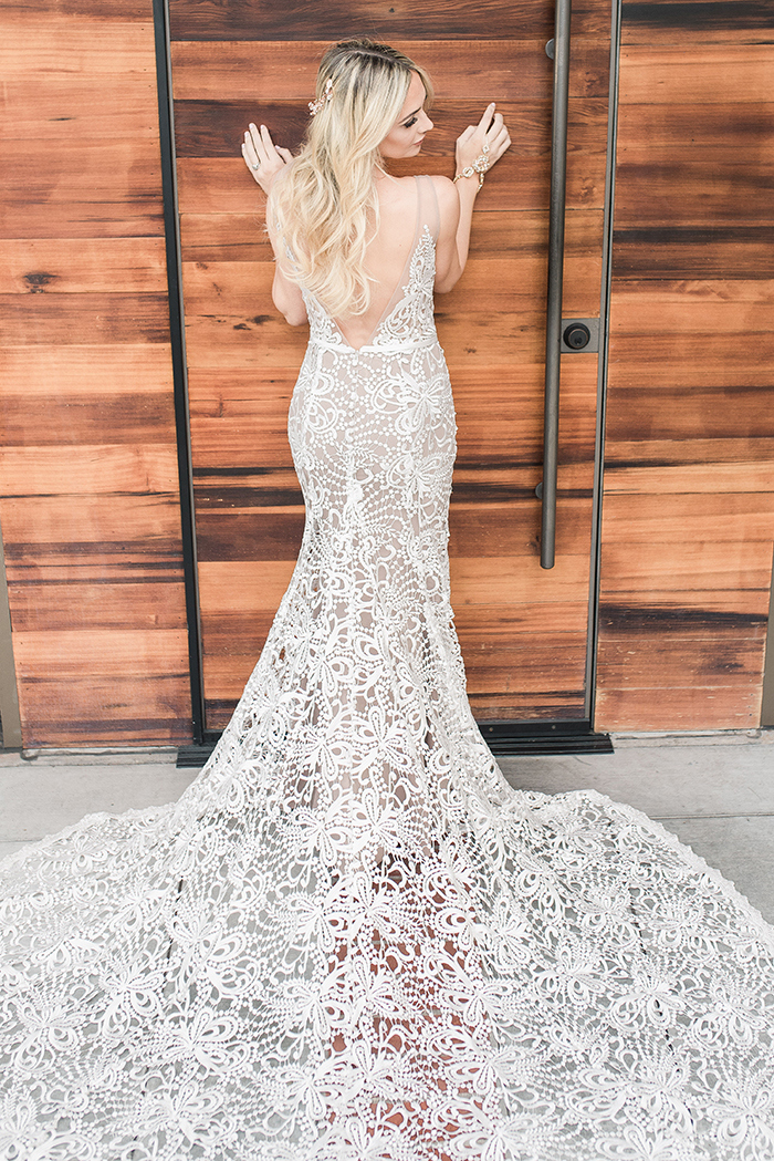 Wedding Dress with Long Lace Train and Open Back